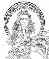 elaphos: Art Nouveau - Demeter by Aesyria Coloring Book Pages, Printable Coloring Pages, Colorful Drawings, Colorful Pictures, Art Nouveau, Nouveau Tattoo, Expressive Art, Copics, Book Of Shadows