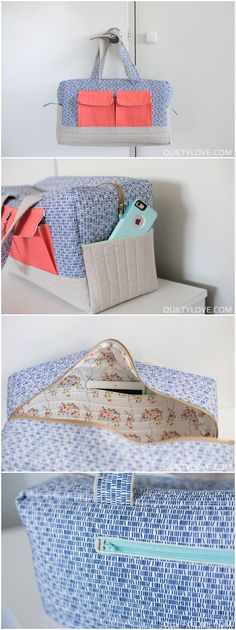 Modified Cargo Duffle made by Emily of Quilty Love. Includes tutorial for sew in lining.  Cargo duffle pattern by Noodlehead for Robert Kaufman Fabrics.