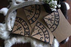 Handmade Cards With Vegviser and Elder Rune Rows Design Set of 4 — NorneWoven Celtic Animals, Altar Cloth, Vegvisir, Asatru, Kraft Paper, Celtic Knot, Runes, Greeting Cards, Handmade