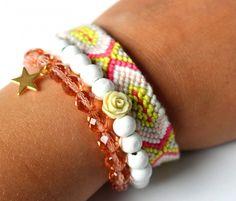 Zomerse armband wit roze groen   Nieuw   nikki Dotti