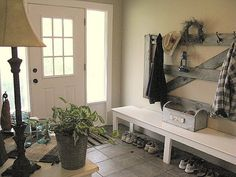 old gate used as a coat rack