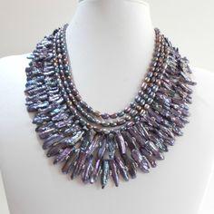 Freshwater Pearl Statement Necklace Biwa Stick Pearl Multistrand Irridescent Black Pearl Statement Jewelry