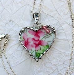 Broken China Jewelry Heart Pendant Necklace by Robinsnestcreation1, $44.95