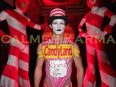 Candy themed living statue to hire. Hand painted to advertise your brand or send a living message to your guests. Bespoke to order. Corporate Entertainment, Party Entertainment, Johnny Depp Mad Hatter, Uk Parties, Candy Land Theme, Living Statue, Candy Costumes, Willy Wonka, Circus Theme