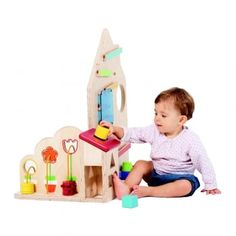 This house shaped activity centre has a set of 7 different games to allow babies and young children to practise and develop their fine motor skills, hand-eye coordination and visual discrimination. The common thread running through these games is 'appearing, disappearing and reappearing'.