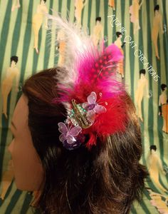 Beautiful Rockabilly Fascinator  Feather by AtomicCatCreations, $12.00