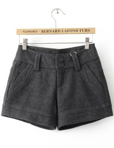 {loose grey button fly shorts} super cute with tights & booties!