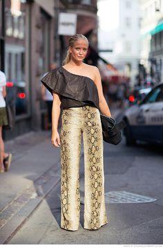 NATHALIE HELGERUD // snakeskin pants & leather top