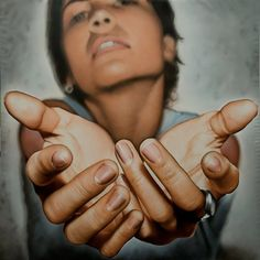 Artist: Victor Rodriguez {contemporary hyperrealism female reaching hands woman palms painting}