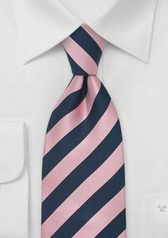 Krawatte Streifenmuster rosé marineblau