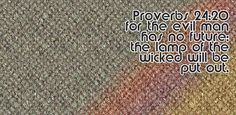 There is no reward for the evil man The candle of the wicked will be put out. Proverbs 24, Knowledge And Wisdom, Bible Verses, Wicked, Candle, Internet, Writing, Free, Scripture Verses