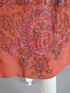 Detail of the embroidery on a Roaring 20's Beaded Evening Cape  c. 1926 France
