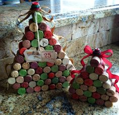Wine Cork Christmas Tree with Ribbons and Buttons by MiAmoreVino, $35.00