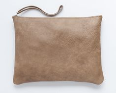 Beautiful Beige leather clutch - Oversize soft leather - Women bag / Handmade by MaykoBags / Etsy / Online shop / World Wide shipping