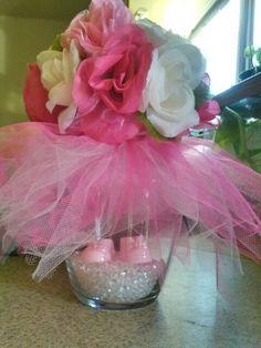 Baby Shower Centerpiece,tutu,vase,booties