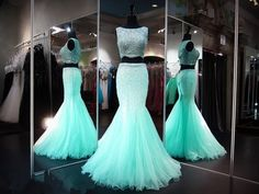 2017 Custom Made Two Pieces Prom Dress,Beading Evening Dress, Floor Length Party Gown, Sleeveless Mermaid Pegeant Dress,High Quality