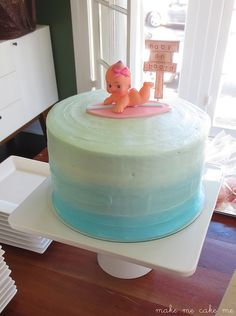 Baby on Board! Sweet Surfing Baby Shower Cake | Make Me Cake Me