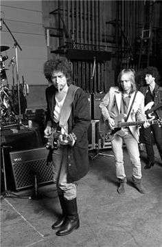 Bob Dylan and Tom Petty, Hollywood, Ca, 1985 | From a unique collection of black and white photography at https://www.1stdibs.com/art/photography/black-white-photography/