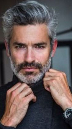 15 Glorious Hairstyles for Men With Grey Hair (a. Silver Foxes) : - 15 Glorious Hairstyles for Men With Grey Hair (a. Best Hairstyles For Older Men, Popular Mens Hairstyles, Haircuts For Men, Cool Hairstyles, Hair And Beard Styles, Short Hair Styles, Silver Foxes Men, Men With Grey Hair, Bearded Men