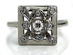 Art Deco Engagement Ring Vintage Diamond Ring .50ctw Platinum