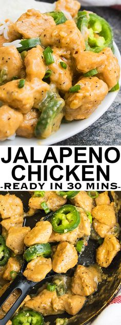 This quick and easy JALAPENO CHICKEN recipe makes a great 30 minute meal and requires simple ingredients. It's rich and creamy and is inspired by Asian/Chinese flavors. Turkey Recipes, Mexican Food Recipes, Dinner Recipes, Holiday Recipes, Jalapeno Recipes, Recipes With Jalapenos, Fried Jalapenos, Quesadillas, Tex Mex