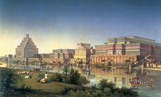 Un palacio idealizado  Esta reconstrucción idílica del palacio de Nimrud, a orillas del Tigris, es obra del arquitecto James Ferguson y de Austen Henry Layard, que excavó el yacimiento. Siglo XIX.
