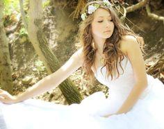 Flower Crown Millinery Leafs , Woodland Wedding, Hair Flower, Whimsical Headband, fairy wedding bridal,  white - MARIA -