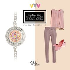 Bling Bracelet with Pink AB Radiance Gold Dot is the perfect combination of elegance and cuteness! #styledots