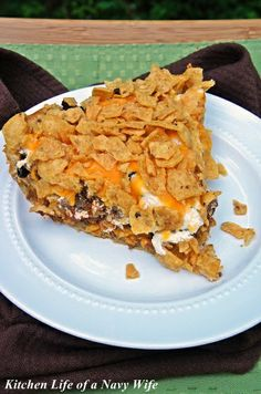 Frito Taco Pie - might try this with a twist. Bake the croissants first so they are not doughy.