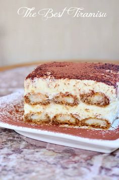 Amazing classic dessert. Tiramisu is made with layers of espresso dipped Ladyfingers cookies, smooth mascarpone cream with a hint of Amaretto and dusted with cocoa powder. From willcookforsmiles.com