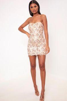 549d6e555745 Rose gold sequin tassle bandeau mini dress