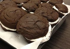Chocolate Whoopie Pies - the REAL deal from Lancaster (makes 24): 1 cup oil (or use butter/shortening combo) 2 cups brown sugar 4 eggs 3 cups flour (1/2 Occident flour if you wish) 1 teaspoon salt 1 teaspoon baking soda 1 teaspoon baking powder 1 cup cocoa 1 cup milk 2 teaspoons vanilla