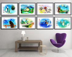 Set of 8 Hayao Miyazaki Movie Poster  Howl's by SchioStudio360