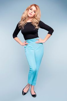 Laura Byrnes California High Waisted Cropped Trousers in Blue Twill - Laura Byrnes - Our Brands | Pinup Girl Clothing