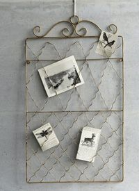 vintage items for display of photos & ephemera Wire Picture Holders, Photo Holders, Old Garden Gates, Buy My House, Vintage Storage, Photo Displays, Display Photos, Elle Decor, Vintage Items
