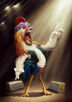 Today we have some Funny And Creative Animals Illustrations for your inspiration.An illustration is a visualization such as a drawing, modeling Funny Illustration, Digital Illustration, 3d Illustrations, Funny Character, Character Design, Foto Gif, Rooster Art, Rooster Images, Rooster Painting