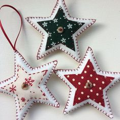 These star-shaped Christmas decorations are handmade to order. Made from wool felt, each of the three ornaments are decorated with a different complementary fabric and finished with a reclaimed button and blanket stitch edging. Whether hung from the tree or around the house, or even given as a wee stocking filler - these charming decorations are sure to add to the joy this coming yuletide. As these are made to order, please allow up to two weeks for delivery within the UK, or up to 4 we...