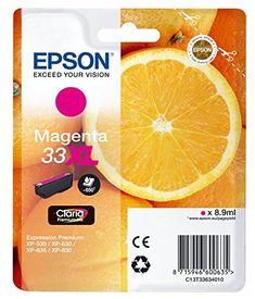 """Epson Cartouche d'Origine T33 """"Oranges"""" - Encre Claria Home Magenta - Taille XL #Epson #Cartouche #d'Origine #""""Oranges"""" #Encre #Claria #Home #Magenta #Taille"""