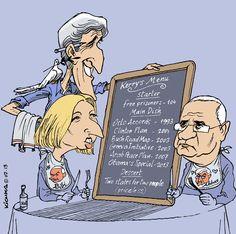 Israéliens et Palestiniens reprennent les négociations par le menu - le dessin du jour, par Kichka