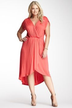 Loveappella Hi-Lo Wrap Maxi Dress - Plus Size