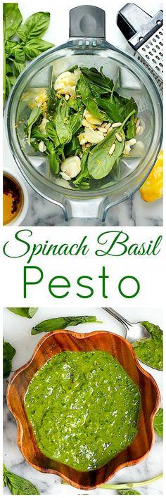 Super Healthy Spinach Basil Pesto (Vegan // Dairy Free // Gluten Free) use cashews instead of pine nuts Healthy Recipes, Dairy Free Recipes, Whole Food Recipes, Healthy Snacks, Vegetarian Recipes, Healthy Eating, Cooking Recipes, Healthy Pesto, Spinach Recipes