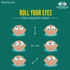 Roll your eyes Up & Down, left-to-right and then diagonally, each 10 times . Perform this simple eye exercise daily to keep your eyes healthy. #EyeExercise #EyeCare #CFS