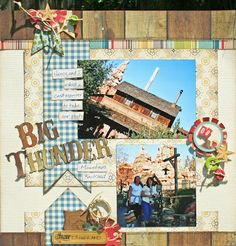 Creatively Savvy: Big Thunder  Great re-use of iTop punch too!  scrapbook layout