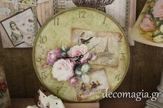 Clock with decoupage~ Ρολόι με decoupage