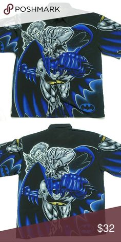 "Batman vs Joker Short Sleeve Shirt Description Brand: Warner Brothers / DC Comics Theme: Batman vs Joker (Graphic Print All Over including Inside of Shirt) Short Sleeve Shirt Button Down Shell:  100% Polyester Interior:  100% Polyester Animated Comic Book Action Series Size: 3X-Large. Pit to Pit: 27"" Top to Bottom: 33"" Color: Black, Blue, Purple w/ Gold, Silver, Gray & White Accents  Condition Gently Used.  Pre-Owned. No Tears.  No Stains. Clean and Nice Shirts Casual Button Down Shirts"