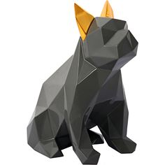 Dog Sculpture in Glossy Grey Resin w/ Gold Ears #dynamichome #dog #sculpture #statue #art #decor #modern #gray #gold #home #homedecor #interiors #interiordesign #style