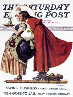 Norman Rockwell -Mistletoe Kiss or Feast for a Traveler - December Norman Rockwell Prints, Norman Rockwell Paintings, The Saturdays, Norman Rockwell Christmas, Saturday Evening Post, Funny Illustration, Office Art, Mistletoe, American Artists