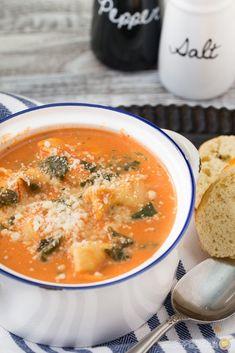 Creamy Tomato Spinach Tortellini Soup image