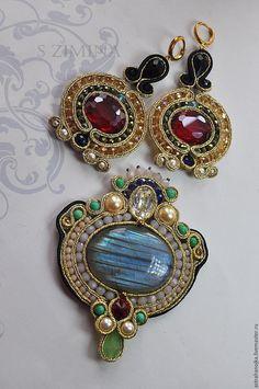 Купить Комплект Новогодний - ярко-красный, комплект, кулон, серьги, сутажные украшения, спектролит, сутаж