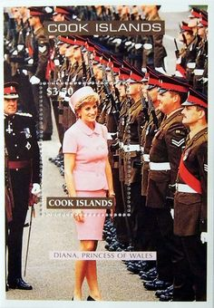 """Princess Diana """"Reviewing The Troops"""" Commemorative Stamp Sheet Issued by the Cook Islands, Diana - Princess of Wales 1961 - 1997."""